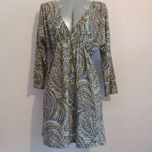 Mist A Line Paisley Muted Tone Dress Sz Small